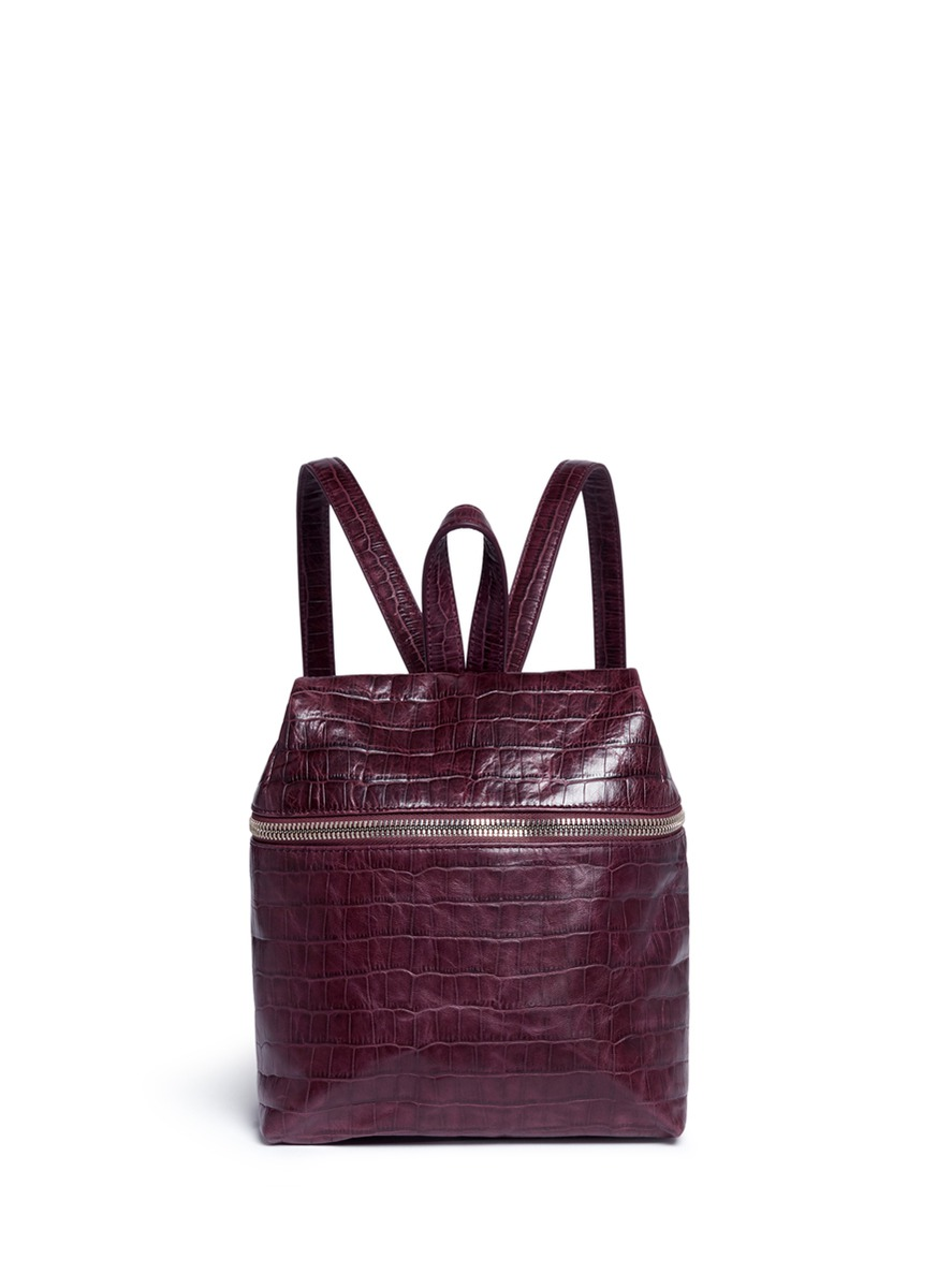 Small croc embossed leather backpack by Kara