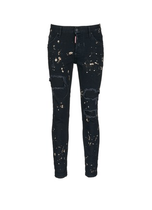 Main View - Click To Enlarge - Dsquared2 - 'Skater' bleached patchwork skinny jeans