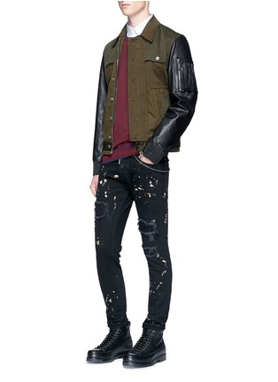 Figure View - Click To Enlarge - Dsquared2 - 'Skater' bleached patchwork skinny jeans