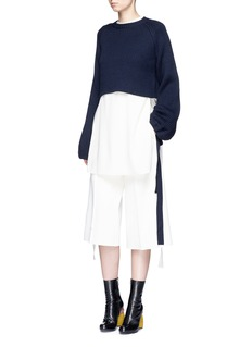 Ellery 'Monty' tie sleeve cropped rib knit sweater