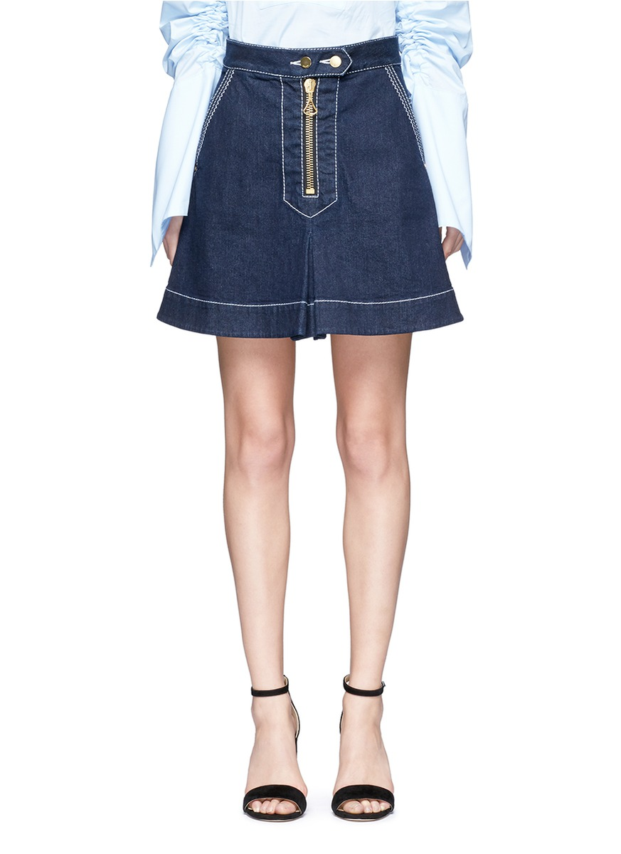El Topo topstitched A-line denim skirt by Ellery