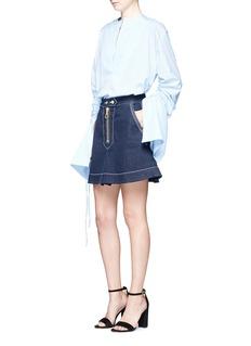 Ellery'El Topo' topstitched A-line denim skirt