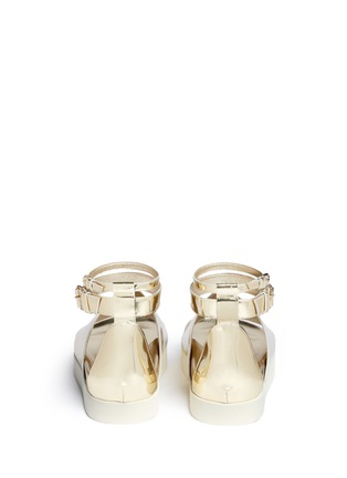 Back View - Click To Enlarge - Ellery - 'Rhyme' peaked vamp mirror leather flatform sandals