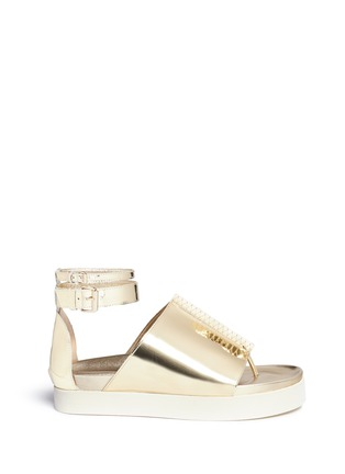 Main View - Click To Enlarge - Ellery - 'Rhyme' peaked vamp mirror leather flatform sandals
