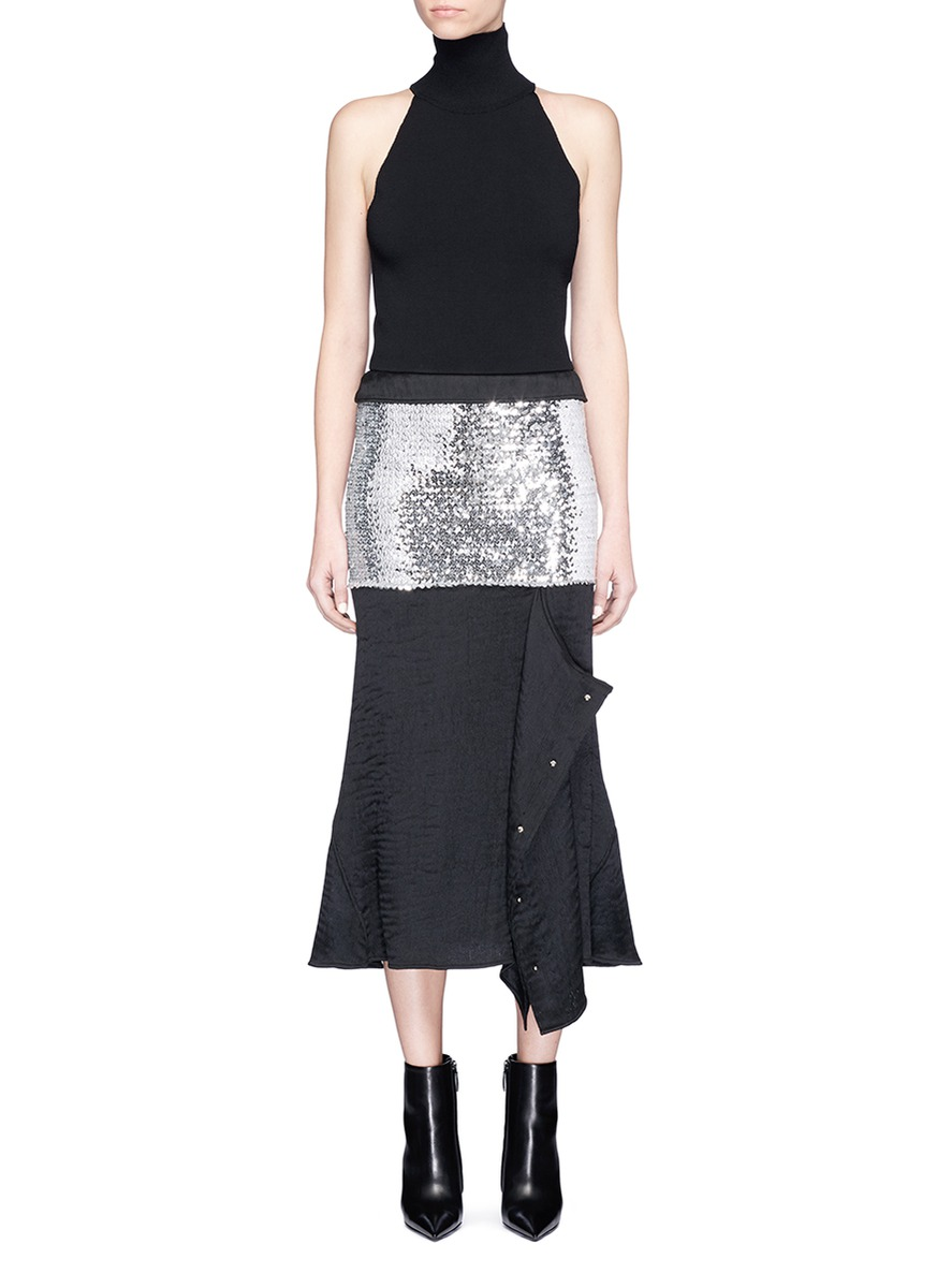 Sequin and ottoman knit panel dress by Esteban Cortazar