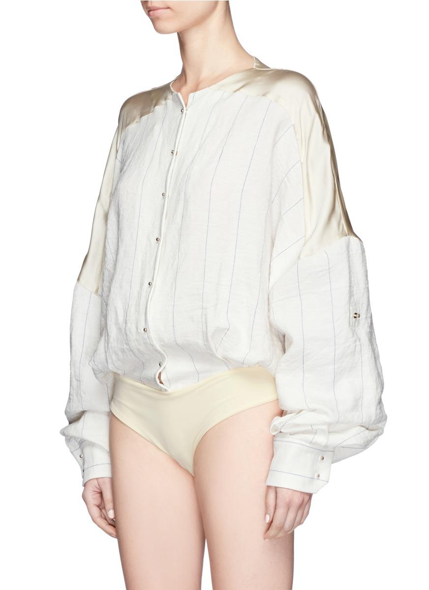 ESTEBAN CORTAZAR Stripe Satin Back Blouse Bodysuit