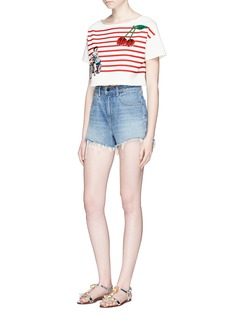 Dolce & GabbanaPin-up girl patch sequin cherry stripe T-shirt