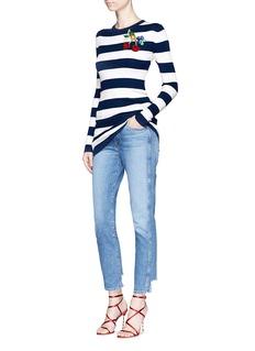 Dolce & GabbanaCherry embellished stripe silk knit top