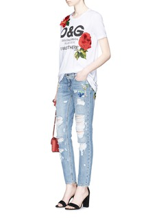 Dolce & Gabbana Fruit and cocktail embroidered cropped ripped jeans