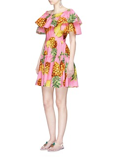 Dolce & Gabbana Pineapple print ruffle off-shoulder poplin dress