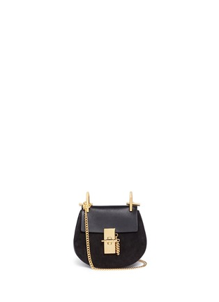 Main View - Click To Enlarge - Chloé - 'Drew' nano leather flap suede shoulder bag