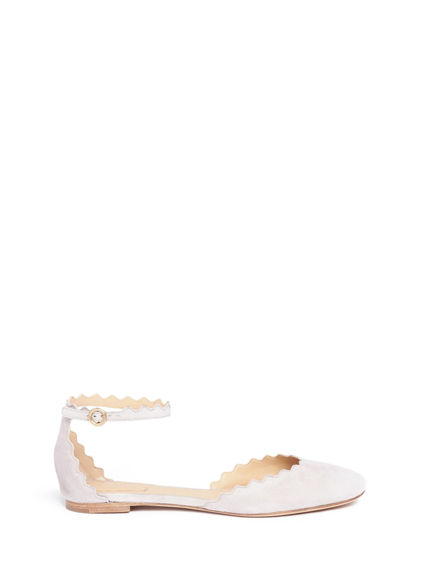 Lauren scalloped edge ankle strap suede flats by Chloé