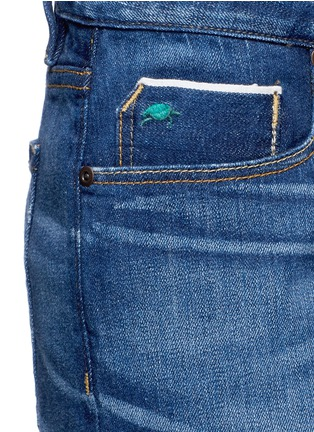 Detail View - Click To Enlarge - Tortoise - Oriental embroidery distressed cropped straight jeans