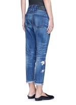 Oriental embroidery distressed cropped straight jeans
