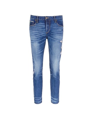 Tortoise-Oriental embroidery distressed cropped straight jeans