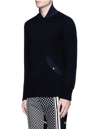 Front View - Click To Enlarge - Sacai - Flannel back yoke wool sweater