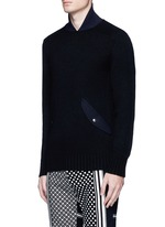 Flannel back yoke wool sweater