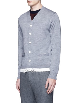 Front View - Click To Enlarge - Sacai - Drawstring hem wool cardigan