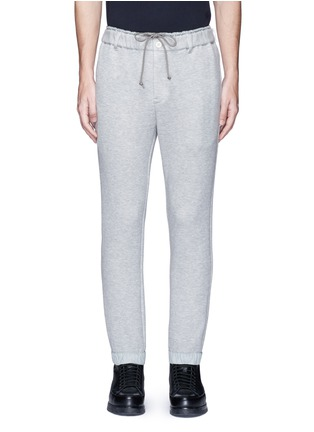 Main View - Click To Enlarge - Sacai - Windbreaker trim drawstring jersey sweatpants
