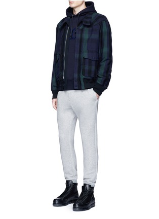 Figure View - Click To Enlarge - Sacai - Windbreaker trim drawstring jersey sweatpants