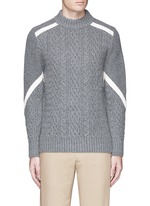 Contrast ribbon cable knit sweater