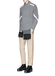 Sacai Contrast ribbon cable knit sweater