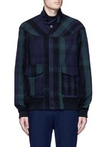 Check plaid flannel blouson jacket