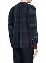 Check plaid contrast cuff flannel top