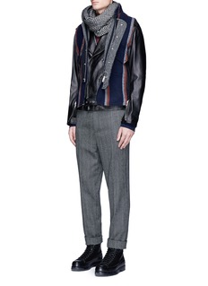 Sacai Stripe raw edge flannel vest