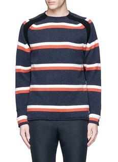 SacaiRibbed trim stripe wool sweater