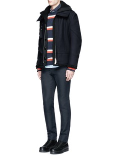 Sacai Ribbed trim stripe wool sweater