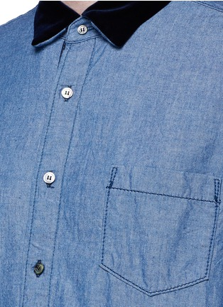 Detail View - Click To Enlarge - Sacai - Velvet collar cotton chambray shirt