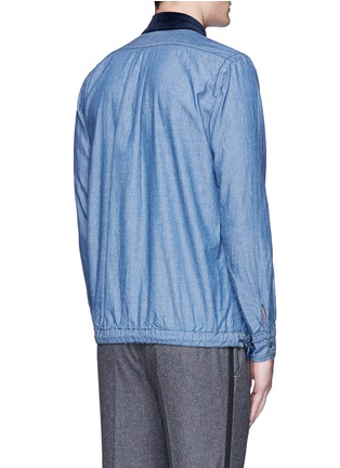 Back View - Click To Enlarge - Sacai - Velvet collar cotton chambray shirt