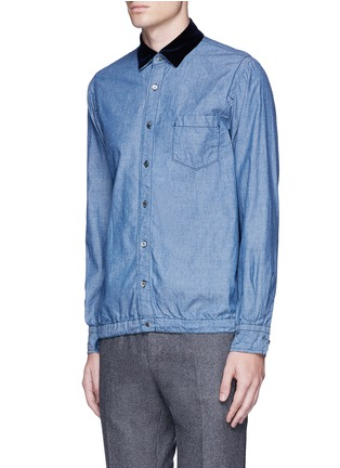 Front View - Click To Enlarge - Sacai - Velvet collar cotton chambray shirt