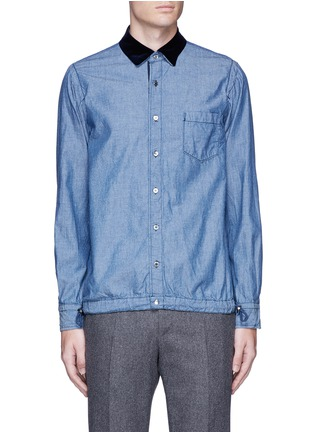 Main View - Click To Enlarge - Sacai - Velvet collar cotton chambray shirt