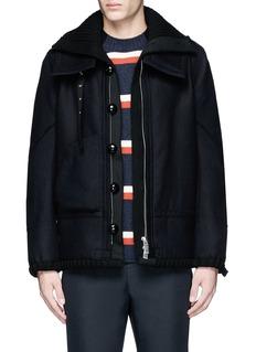 SacaiKnit underlay wool flannel jacket