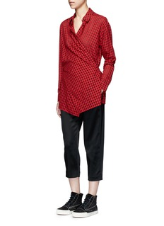 T By Alexander Wang Crisscross wrap front check print gauze shirt