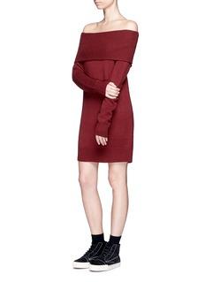 T By Alexander WangOff-shoulder wool-cashmere knit dress