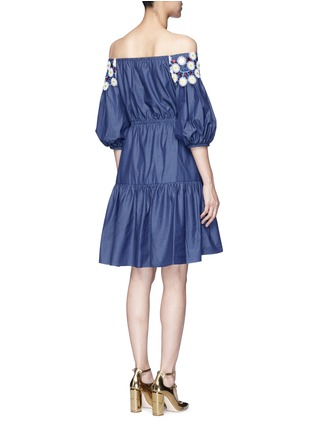 Back View - Click To Enlarge - Peter Pilotto - 'Pallas' floral lace tiered off-shoulder dress