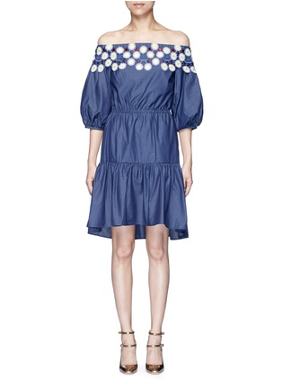 Main View - Click To Enlarge - Peter Pilotto - 'Pallas' floral lace tiered off-shoulder dress