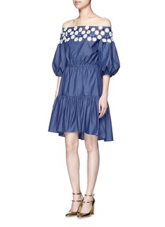 Peter Pilotto 'Pallas' floral lace tiered off-shoulder dress