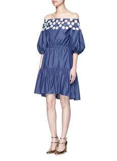 Peter Pilotto'Pallas' floral lace tiered off-shoulder dress
