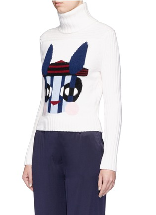 Front View - Click To Enlarge - HELEN LEE - Bad Bunny' intarsia turtleneck sweater