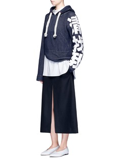 HELEN LEE 'Find Me' Chinese slogan perforated knit hoodie