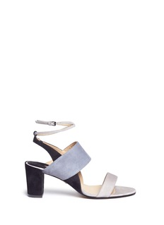 Paul Andrew 'Xiamen' colourblock suede strappy sandals