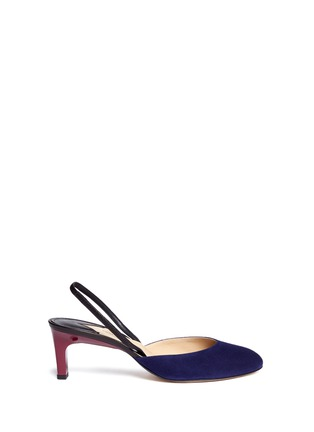 Main View - Click To Enlarge - Paul Andrew - 'Celestine' leather slingback suede pumps