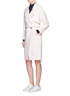 Comme Moi Frayed wool blend belted trench coat