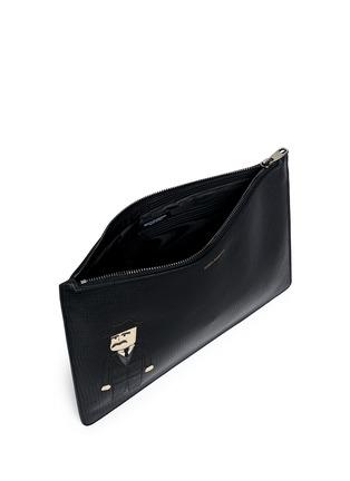 Dolce & Gabbana-Sicilian man appliqué medium leather zip pouch