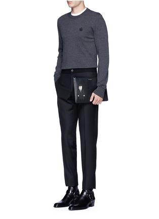 Figure View - Click To Enlarge - Dolce & Gabbana - Sicilian man appliqué medium leather zip pouch