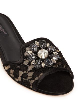 Dolce & Gabbana-'Bianca R' jewelled Taormina lace slippers